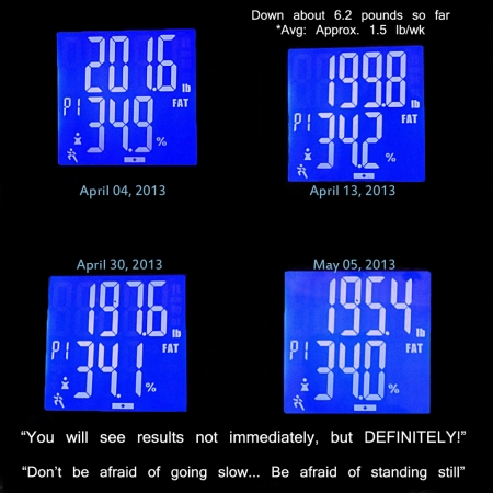 Loss of about 6.2 pounds  in about a month. (4/4/2013 - 5/5/2013)